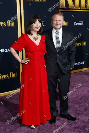 Rian Johnson (R) and US film critic Karina Longworth (L) pose on the red carpet during the premiere of the movie 'Knives Out' at the Regency Village Theatre in Los Angeles, California, USA, 14 November 2019. The movie is set tp be released in US theaters on 27 November.