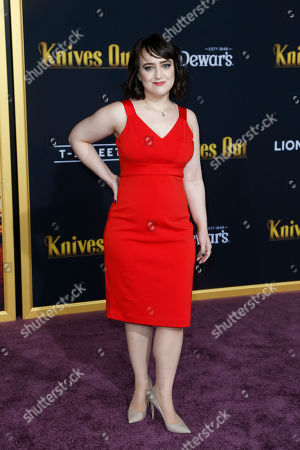 Mara Wilson poses on the red carpet during the premiere of the movie 'Knives Out' at the Regency Village Theatre in Los Angeles, California, USA, 14 November 2019. The movie is set to be released in US theaters on 27 November.