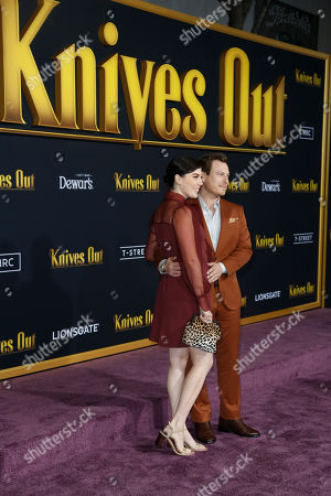Noah Segan (R) and guest pose on the red carpet during the premiere of the movie 'Knives Out' at the Regency Village Theatre in Los Angeles, California, USA, 14 November 2019. The movie is set to be released in US theaters on 27 November.