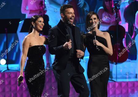 Roselyn Sanchez, Ricky Martin, Paz Vega. Hosts Roselyn Sanchez, from left, Ricky Martin and Paz Vega speak at the conclusion of the 20th Latin Grammy Awards, at the MGM Grand Garden Arena in Las Vegas