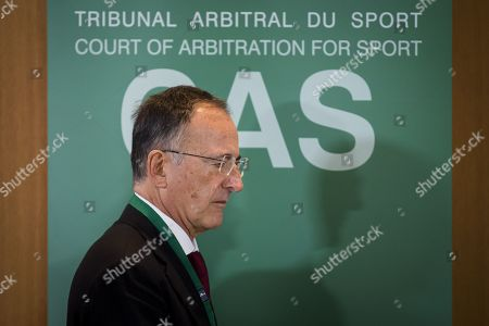 Stock Picture of Panel President, Judge Franco Frattini during a public hearing of Chinese swimmer Sun Yang at the Court of Arbitration for Sport (CAS), in Montreux, Switzerland, 15 November 2019. One of China's three-time gold medalist swimmer Sun Yang is facing a World Anti-Doping Agency appeal in Switzerland that seeks to ban him for up eight years for allegedly refusing to give samples voluntarily.