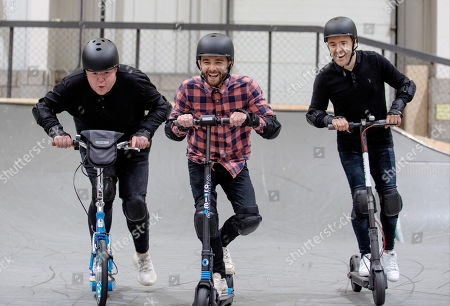 "(l-r) Coronation Streets Colson Smith, Jack P Shepherd and Alan Halsall ""road test"" scooters for Christmas"