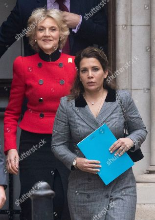 Princess Haya Bint al-Hussein of Jordan (R) and her lawyer Baroness Fiona Shackleton (L) leave the Royal Courts of Justice in London, Britain, 15 November 2019.  Princess Haya, the estranged wife of the ruler of Dubai, Sheikh Mohammed bin Rashid Al-Maktoum, is in court during a case about their children's welfare.