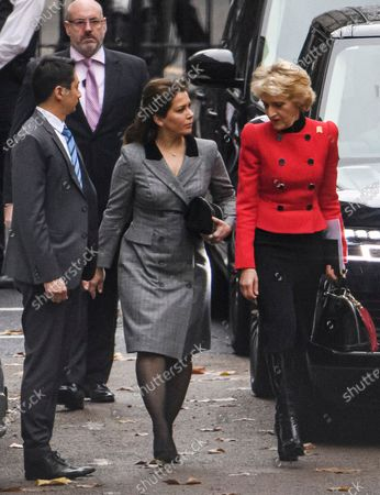 Princess Haya of Jordan (left) and her legal representative Fiona Shackleton (right) are seen arriving at The Family Court devision of the Royal Courts of Justice in London