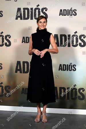 Stock Picture of Spanish actress and cast member Mona Martinez poses for the photographers during the presentation of the movie 'Adios' (Goodbye) in Madrid, Spain, 15 November 2019. The thriller movie, directed by filmmaker Paco Cabezas, tells about corruption and drug trafficking in Seville's underworld and opens in Spanish cinemas on 22 November.
