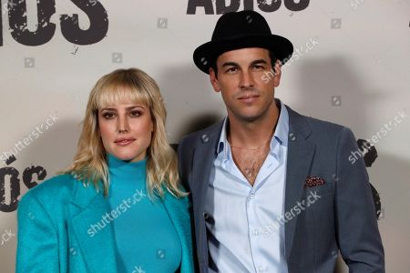 Natalia de Molina (L) and Mario Casas (R) pose for the photographers during the presentation of the movie 'Adios' (Goodbye) in Madrid, Spain, 15 November 2019. The thriller movie, directed by filmmaker Paco Cabezas, tells about corruption and drug trafficking in Seville's underworld and opens in Spanish cinemas on 22 November.