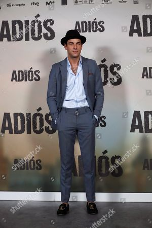 Mario Casas poses for the photographers during the presentation of the movie 'Adios' (Goodbye) in Madrid, Spain, 15 November 2019. The thriller movie, directed by filmmaker Paco Cabezas, tells about corruption and drug trafficking in Seville's underworld and opens in Spanish cinemas on 22 November.
