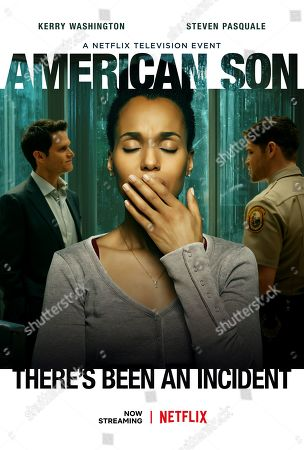 Stock Image of American Son (2019) Poster Art. Steven Pasquale as Scott Connor, Kerry Washington as Kendra and Jeremy Jordan as Paul Larkin