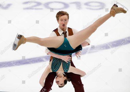 Anastasia Skoptcova, Kirill Aleshin. Anastasia Skoptcova and Kirill Aleshin of Russia perform in the ice dance, rhythm dance program during the ISU Grand Prix of Figure Skating- Rostelecom Cup in Moscow, Russia