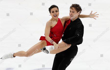 Sara Hurtado, Kirill Khaliavin. Sara Hurtado and Kirill Khaliavin of Spain perform in the ice dance, rhythm dance program during the ISU Grand Prix of Figure Skating- Rostelecom Cup in Moscow, Russia