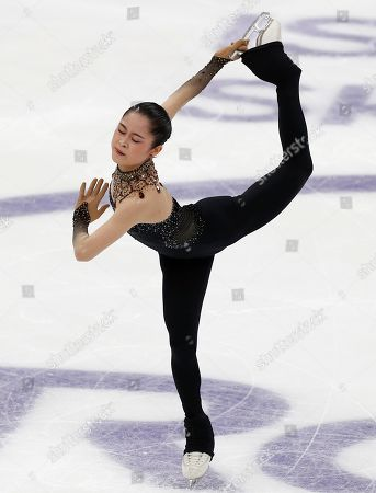 Satoko Miyahara of Japan performs in the ladies short program during the ISU Grand Prix of Figure Skating- Rostelecom Cup in Moscow, Russia