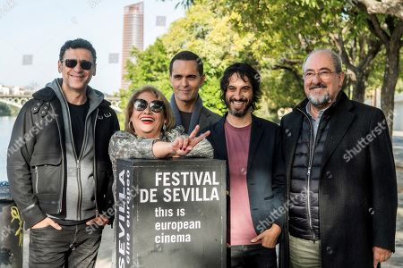 Stock Image of Spanish filmmaker Marc Vigil (2-R) poses during the presentation of his film 'El silencio del pantano' (li. The Silence of the Swamp) with cast members Pedro Alonso (C), Carmina Barrios (2-L), Nacho Fresneda (L) and Jose Angel Edigo (R) at the 16th edition of the Seville European Film Festival (SEFF), in Seville, southern Spain, 15 November 2019. The Festival de Sevilla runs from 08 to 16 November.