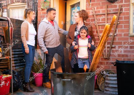 Ep 9934 Monday 25th November 2019 - 1st Ep Hope, as played by Brooke Malonie, causes trouble when Fiz Stape, as played by Jennie McAlpine, refuses to throw a fireworks party. Tyrone Dobbs, as played by Alan Halsall, is concerned that Hope is up to her old tricks and suggests they throw the party to please her. With the party underway, Fiz, Tyrone and Kevin Webster suddenly realise the back yard is on fire, with Hope watching the flames with amusement.