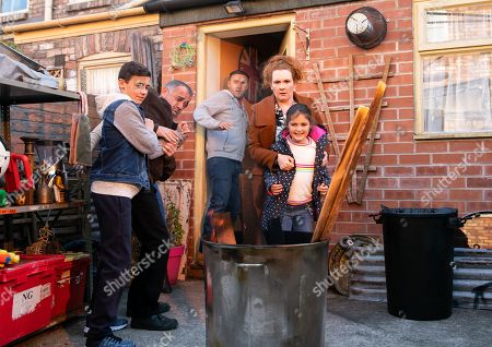 Ep 9934 Monday 25th November 2019 - 1st Ep Hope, as played by Brooke Malonie, causes trouble when Fiz Stape, as played by Jennie McAlpine, refuses to throw her a fireworks party. Tyrone Dobbs, as played by Alan Halsall, is concerned that Hope is up to her old tricks and suggests they throw the party to please her. With the party underway, Fiz, Tyrone and Kevin Webster, as played by Michael Le Vell, suddenly realise the back yard is on fire, with Hope watching the flames with amusement.