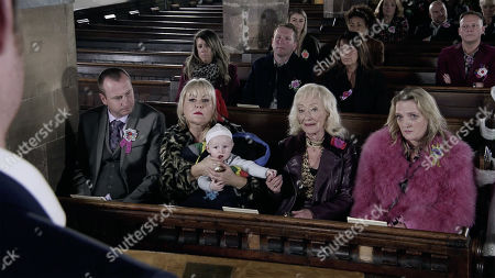 Stock Picture of Ep 9928 Monday 18th November 2019 - 1st Ep Daniel Osbourne returns in time for the funeral and in a moving service everyone says goodbye to Sinead before gathering at the Rovers for the wake. With Kirk Sutherland, as played by Andy Whyment ; Beth Tinker, as played by Lisa George.