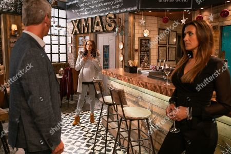 Ep 9940 Monday 2nd December 2019 - 1st Ep Vicky, as played by Kerri Quinn, interrupts the Connors pre-wedding celebrations in the bistro. Robert Preston, as played by Tristan Gemmill, quickly gets rid of her and Michelle Connor, as played by Kym Marsh, explains that he's just helping out Tyler.