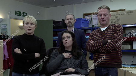 Ep 9942 Wednesday 4th December 2019 - 1st Ep Paul Foreman returns to work and leaves the factory staff speechless when he admits that the police want to talk to him about being abused as a child. With Sally Metcalfe, as played by Sally Dynevor ; Izzy Armstrong, as played by Cherylee Houston ; Nick Tilsley, as played by Ben Price ; Sean Tully, as played by Antony Cotton.
