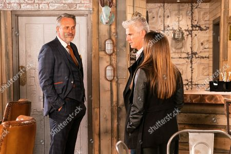Ep 9938 Friday 29th November 2019 - 1st Ep Ray, as played by Mark Frost, tells Michelle Connor, as played by Kym Marsh, that he's dropping the case against her - but to watch her back. Also pictured Robert Preston, as played by Tristan Gemmill.