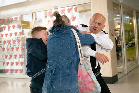Ep 9944 Friday 6th December 2019 - 1st Ep Bernie Winter, as played by Jane Hazlegrove, decides to take matters about Kel, as played by Joseph Alessi, into her own hands and heads to the precinct, writing 'paedo' under the picture of Kel on the security team noticeboard. A fight breaks out and Chesney Brown, as played by Sam Aston, accidentally pushes Kel's face into a wall. The security guards escort them out.