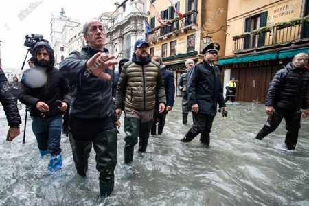 Veneto Governor Luca Zaia, Secretary of Lega party Matteo Salvini during the inspection of the flood damage in St. Mark square