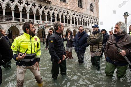Veneto Governor Luca Zaia, Mayor of Venice Luigi Brugnaro, Secretary of Lega party Matteo Salvini during the inspection of the flood damage in St. Mark square