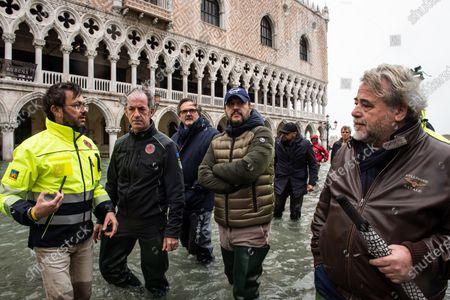 Veneto Governor Luca Zaia, (L) Mayor of Venice Luigi Brugnaro (R), Secretary of Lega party Matteo Salvini during the inspection of the flood damage in St. Mark square