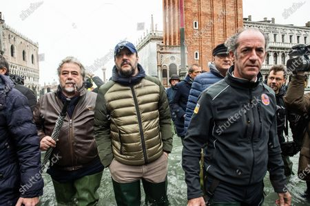 Veneto Governor Luca Zaia, (R) Mayor of Venice Luigi Brugnaro (L), Secretary of Lega party Matteo Salvini during the inspection of the flood damage in St. Mark square