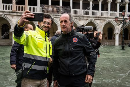 Veneto Governor Luca Zaia during the inspection of the flood damage in St. Mark square