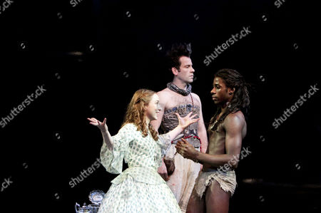 'Nation' - l-r: Emily Taaffe (Daphne), Jason Thorpe (Milton, a Parrot), Gary Carr (Mau)