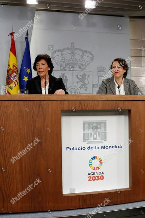 Spanish Government's acting spokesperson, Isabel Celaa (L), and acting Minister of Labour, Magdalena Valerio, hold a press conference following the Cabinet meeting at the Palace of La Moncloa, in Madrid, Spain, 15 November 2019. The Cabinet meeting was the first one after the general elections held on 10 November, in which the socialist party PSOE won with 120 seats.