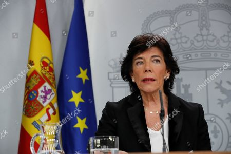 Spanish Government's acting spokesperson, Isabel Celaa, speaks during a press conference held following the Cabinet meeting at the Palace of La Moncloa, in Madrid, Spain, 15 November 2019. The Cabinet meeting was the first one after the general elections held on 10 November, in which the socialist party PSOE won with 120 seats.