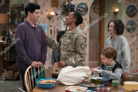 Michael Fishman as D.J. Conner, Maya Lynne Robinson as Geena Williams-Conner, Ames McNamara as Mark Conner-Healy and Sara Gilbert as Darlene Conner