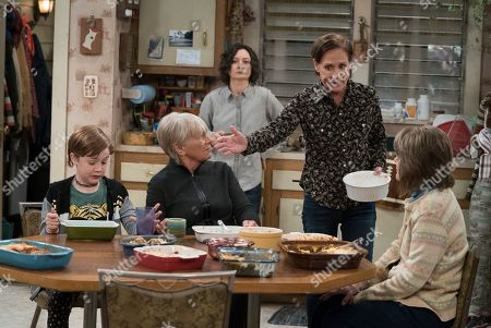 Ames McNamara as Mark Conner-Healy, Estelle Parsons as Beverly Harris, Sara Gilbert as Darlene Conner, Laurie Metcalf as Jackie Harris and Natalie West as Crystal Anderson