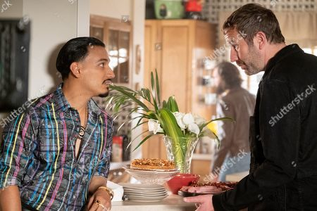 Stock Image of Goya Robles as Yago and Chris O'Dowd as Miles Daly