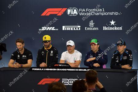 Stock Picture of Romain Grosjean (FRA#8), Rich Energy Haas F1 Team, Daniel Ricciardo (AUS#3), Renault F1 Team, Valtteri Bottas (FIN#77), Mercedes-AMG Petronas Motorsport, Sergio Perez (MEX#11), Sportpesa Racing Point F1 Team, Robert Kubica (POL#88), Rokit Williams Racing