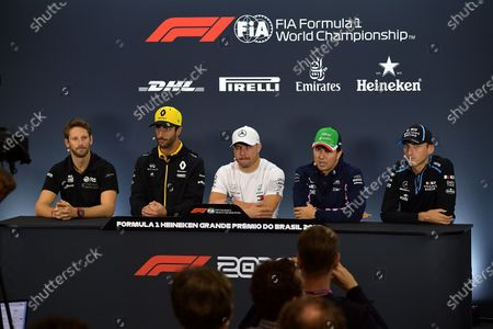 Romain Grosjean (FRA#8), Rich Energy Haas F1 Team, Daniel Ricciardo (AUS#3), Renault F1 Team, Valtteri Bottas (FIN#77), Mercedes-AMG Petronas Motorsport, Sergio Perez (MEX#11), Sportpesa Racing Point F1 Team, Robert Kubica (POL#88), Rokit Williams Racing