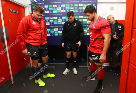 Gloucester vs Toulouse. Gloucester's captain Ben Morgan and Toulouse captain Julien Marchand with referee Ben Whitehouse at the coin toss
