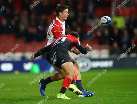 Gloucester vs Toulouse. Toulouse's Yoann Huget and Matt Banahan of Gloucester