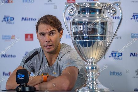 Rafael Nadal (ESP) at the post match press conference with the ATP Trophy. Andre Agassi group stage match between Rafael Nadal (ESP) (1) and Stefanos Tsitsipas (GRE) (6).