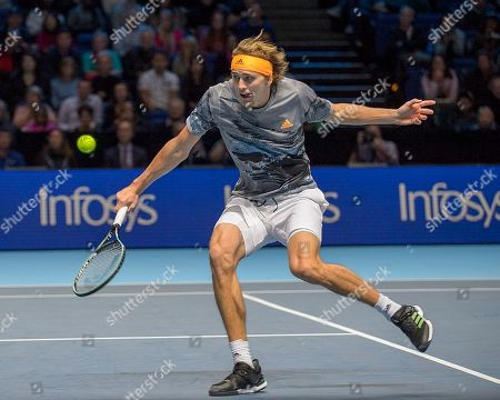 Stock Image of Alexander Zverev (GER) in action during his match with Daniil Medvedev (RUS).  Andre Agassi group stage match between Daniil Medvedev (RUS) (4) and Alexander Zverev (GER) (7).