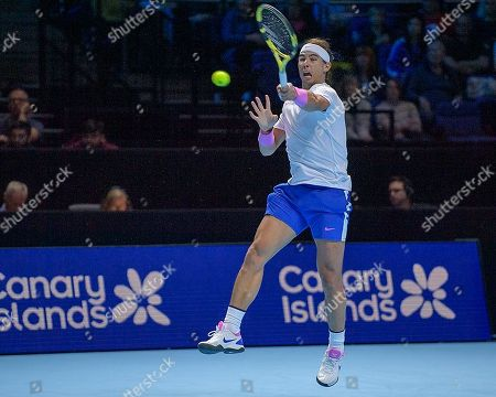 Rafael Nadal (ESP) in action during his match with Stefanos Tsitsipas (GRE). Andre Agassi group stage match between Rafael Nadal (ESP) (1) and Stefanos Tsitsipas (GRE) (6).