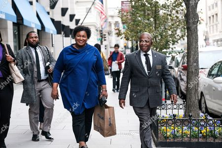 Former Georgia House Democratic Leader Stacey Abrams, departs from an event at the National Press Club, in Washington