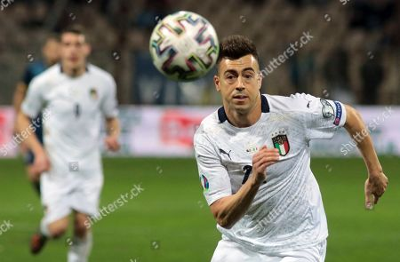 Italy's Stephan El Shaarawy runs for the ball during the Euro 2020 group J qualifying soccer match between Bosnia-Herzegovina and Italy at the Bilino polje stadium in Zenica, Bosnia