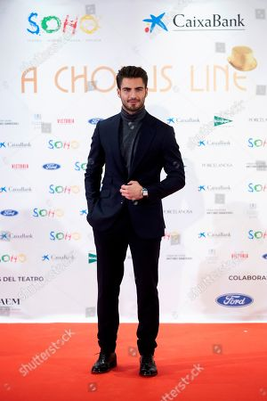 Maxi Iglesias attends the premiere of the musical theater play 'A Chorus Line', directed by theater director and writer Michael Bennett and co-directed by Spanish actor Antonio Banderas, at the Soho Theater in Malaga, Andalusia, southern Spain, 15 November 2019.