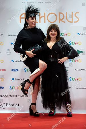 Rossy de Palma (L) and Loles Leon attend the premiere of the musical theater play 'A Chorus Line', at the Soho Theater in Malaga, Andalusia, southern Spain, 15 November 2019. The play is directed by theater director and writer Michael Bennett and co-directed by Spanish actor Antonio Banderas.