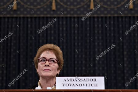 Marie Yovanovitch, former U.S. Ambassador to Ukraine, listens during a House Intelligence Committee impeachment inquiry hearing in Washington, D.C., U.S.,. Yovanovitch testified in private on October 11 that she was called back to Washington after a 'concerted campaign' by President Trump and his allies, including Rudy Giuliani, according to a transcript released later.