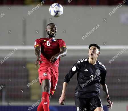 Stock Picture of Panama's Cecilio Waterman, left, heads the ball as Mexico's Edson Alvarez looks on during a CONCACAF Nations League soccer match at the Rommel Fernandez stadium in Panama City, . Mexico won 3-0