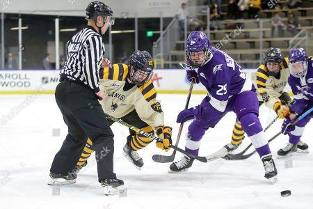 Ludwig Stenlund (29) of Niagara and Matt Long (25) of Canisius during an NCAA hockey game on in Buffalo, N.Y