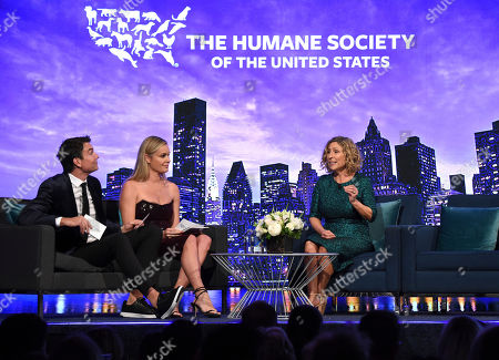 Rebecca Romijn, Jerry O'Connell, Kitty Block speak on stage at the Humane Society of the United States To the Rescue! New York Gala on in New York. In its tenth year, the event honored consumer goods company Unilever; MUTTS cartoonist and children's book author Patrick McDonnell; and the Alex & Elisabeth Lewyt Charitable Trust. The evening was hosted by Jerry O'Connell and Rebecca Romijn and featured a performance by singer-songwriter Gavin DeGraw