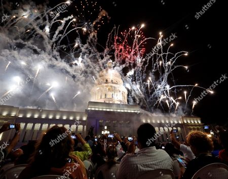 Fireworks explode over the National Capitol Building during the celebration of the 500th anniversary of Havana's foundation, in Havana, Cuba, 16 November 2019. Cuba celebrated 500 years since the founding of the city of San Cristobal de La Habana by Spaniard Diego Velazquez de Cuellar in 1519.